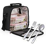 Glassfood - Bolsa Térmica Lunchbag Basic con 2 Contenedores de Vidrio de 0.57L + 0.84L y Cubiertos AISI 430 Niquel Free. Negra