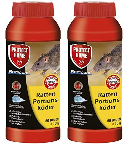 Köder-Discount: SBM Protect Home Ratten Portionsköder 2 X 500g Rodicum mit 2 Warnaufklebern (2X 500g)