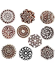 Royal Kraft Round Wooden Printing Stamps (Set of 10) - DIY Henna Fabric Textile Paper Clay Pottery Block Blocks Htag2181