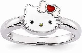 Sterling Silver Themed Ring Enamel White Red Hello Kitty Enamel Ring