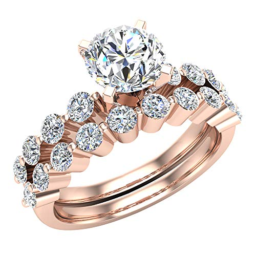 Glitz Design Mujer Niños Hombre Unisex oro 14 quilates (585) oro rosa redonda H-I Diamond