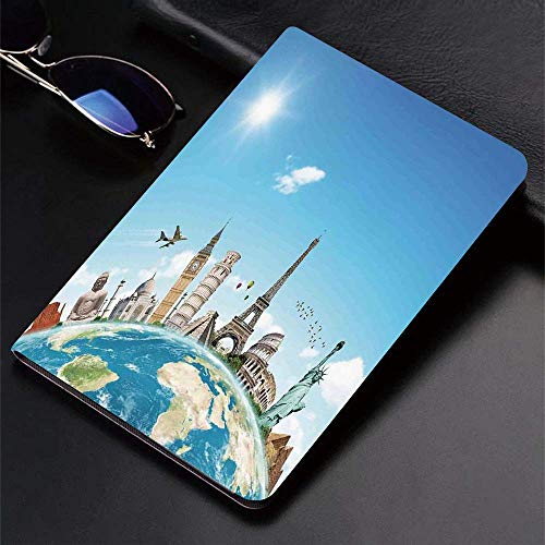 Case for iPad (9.7-Inch, 2018/2017 Model, 6th/5th Generation)Ultra Slim Lightweight Smart Cover,Travel,Famous Monuments Of Pisa Taj Mahal Giza Pyramids Paris Landmarks The,Smart Covers Auto Wake/Sleep