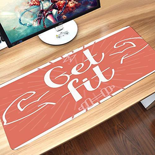 Alfombrilla goma antideslizante para ratón, Fitness, obtén las letras con Bodybuilder Man Arms Biceps Figure Be Strong Ach,ratón de goma antideslizantes con Designs para gamer y Office trabajo60x35 cm