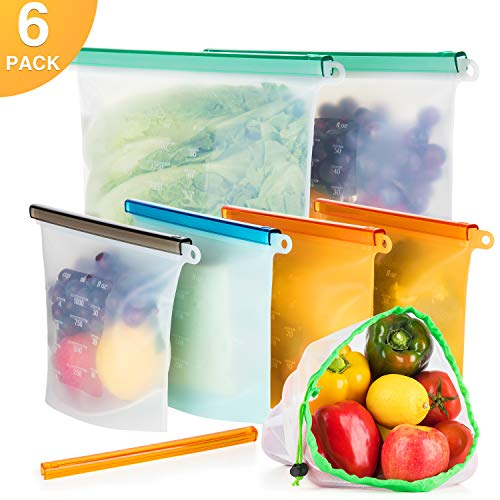 Reusable Silicone Food Storage Bag(6 Pack, BONUS 1 Slider & 1 Mesh Bag), Leakproof Food Preservation Bag for Sous Vide, Vegetable, Liquid, Lunch, Fruit, Temperature Resistant & Dishwasher Safe
