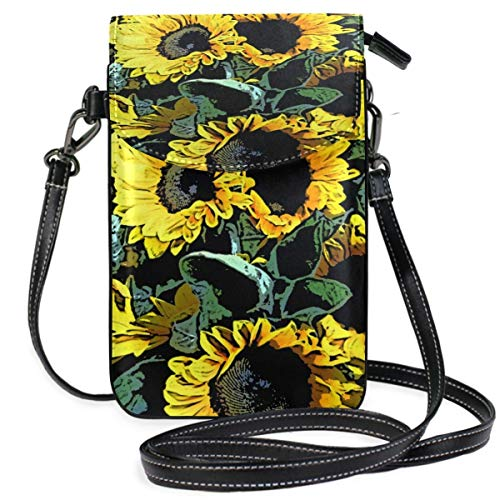 XCNGG Kleine Geldbörse Sunflower Sunflowers Bunch Yellow Cell Phone Purse Wallet for Women Girl Small Crossbody Purse Bags
