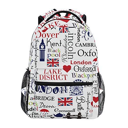 Rucksack mit Union Jack London Big Ben für Schule, College, Reisen, Wandern, modischer Laptoprucksack für Damen und Herren