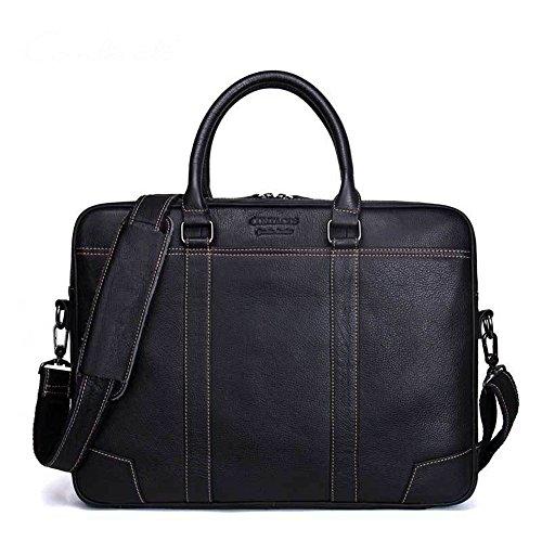 Xuping shop 15.6 Pulgadas Mens Messenger Bag Vintage Maletín de Cuero Genuino Gran Bolso de Hombro Bolsa de Ordenador Portátil Computadora (Color : Black)