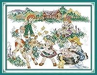 刺繍 遊んでいる子供や動物刺しゅうキット 11CT クロスステッチ 初心者向け 手芸キット クロスステッチ刺繍キット 正確な図柄印刷 装飾品 40×50cm-フレームなし