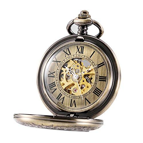 TREEWETO, orologio da taschino unisex con catena, analogico, caricamento a mano, design antico scheletrato, con lente d'ingrandimento, in bronzo