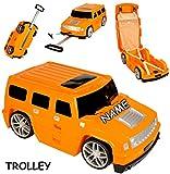alles-meine.de GmbH 3 in 1: großer _ Kinder - Trolley + Sitz -Koffer -  Auto - Jeep / Truck - orange  - incl. Name - Sitzkoffer zum Ziehen + Schieben / Sitzen & Spielen - Junge..