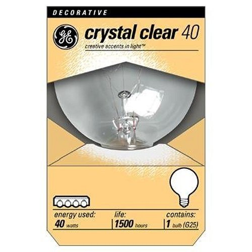 GE 12980-6 40 Watt Globe G25 Light Bulb, Crystal Clear, 12-Pack