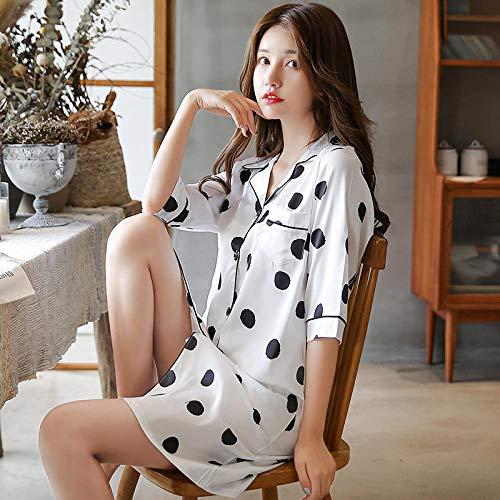 Pyjamas Frauen Sommer EIS Seide Nachthemd Seide sexy Zweiteilige Seidenschlinge Dünnschliff mit Brustpolster Home Service @ L_ZJ-908 weißen Nachthemd