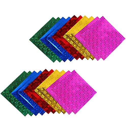 LIXBD 100 Stück Kinder-Glitzer-Faltpapier, glitzerndes Origami-Papier, buntes Bastelpapier für Kinder, Bastelarbeiten, Kunstprojekte