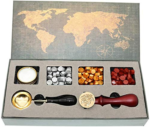 Sayiant Wax Stamps set,Fire lacquer seal set, fire lacquer wax pellet gift box, With scented candles and Sealing Wax Spoon,invitation sealing wax set (rose)