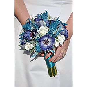 Vintage Navy Anemone Bridal Bouquet w/ Turquoise Heather and Sea Holly Thistles
