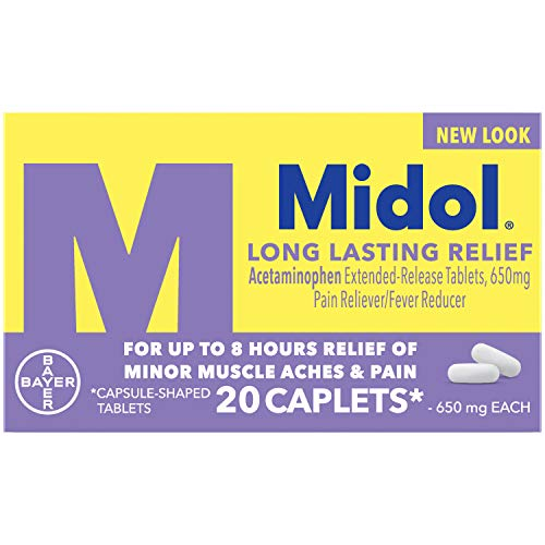 Midol Long Lasting Relief, Menstrual Pain Reliever & Fever Reducer, Caplets with Acetaminophen for Menstrual Symptom Relief - 20 Count, Packaging May Vary