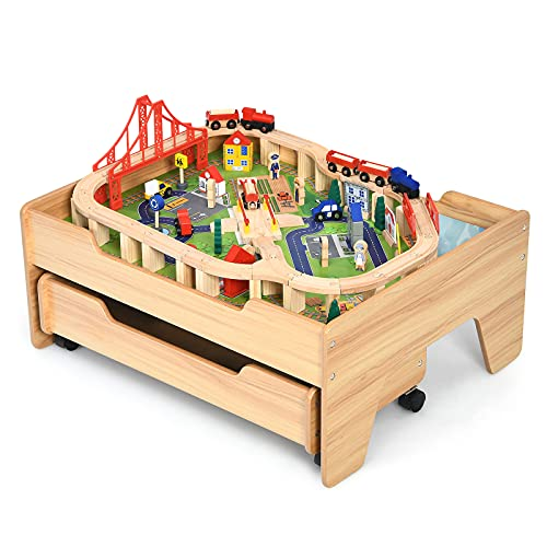 Costzon Train Table, Wood Kids Activity Table w/Storage Drawer, 100 Multicolor Pieces, Railway, City, Cars, Track, DIY Design, Playset Table w/Lockable Wheels, Gift for Boys Girls, Wooden Train Set