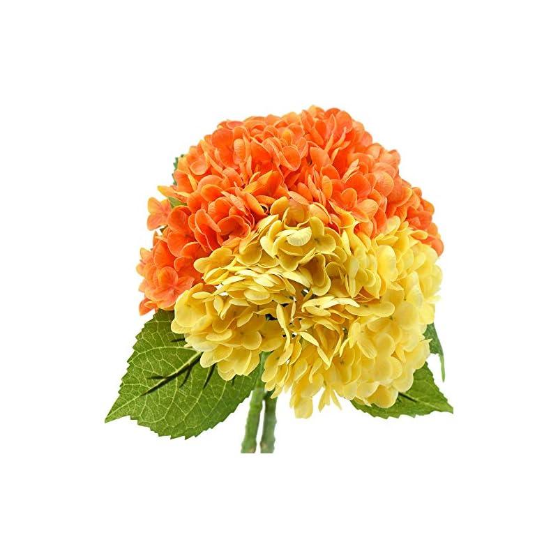 silk flower arrangements fiveseasonstuff real touch silk hydrangea flowers, 2 large long stem artificial flowers for floral arrangements (mixed sunbeam yellow & autumn orange)