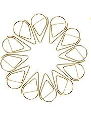 MOKIU złote spinacze biurowe, 100 złotych spinaczy w kształcie kropli, akcesoria biurowe, złote