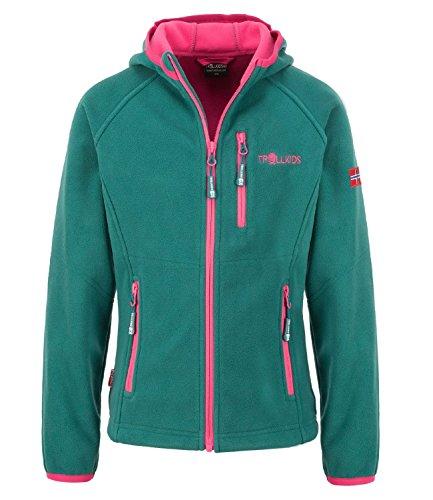 Trollkids Fleece-Jacke Borgund XT mit Kapuze für Mädchen, Smaragdgrün, Größe 98