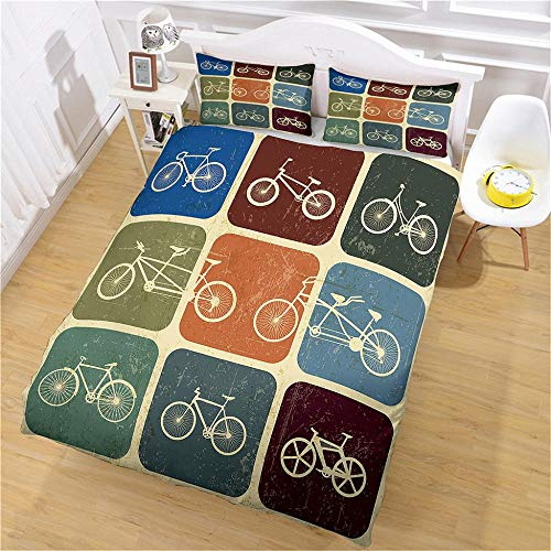 LiYiAT Superking Duvet Covers 3D Printed Ultra Soft Hypoallergenic Easy Care Bedding Quilt Cover Color Retro Bicycle Microfibre 3 Pieces 2 Pillowcases for Double Bed with Zipper Closure(260X220cm)
