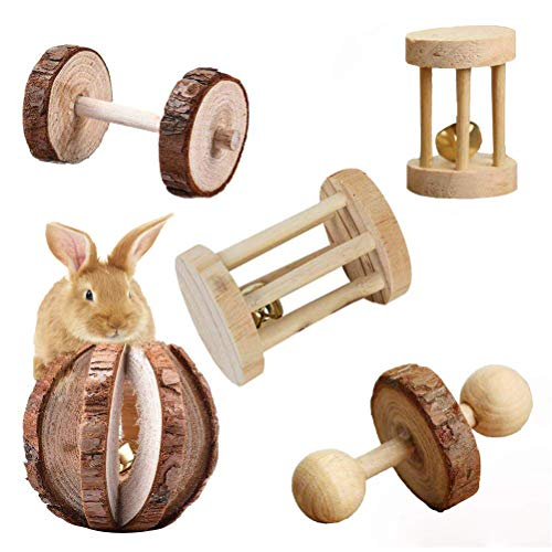 Vankcp 5 Pcs Hamster Chew Toys, Natural Wooden Chew Toys Pets Teeth Care Molar Ball for Small Animals Cat Rabbits Rat Guinea Pig (5P)