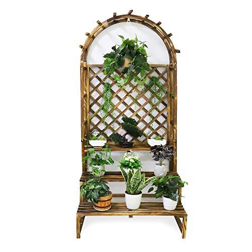 Medla Blumenregal aus Massivem Holz, Blumentreppe mit Rankgitter, Pflanzenregal mit 3 Abalgen und Hängestange, für Garten,Terasse,Balkon,Indoor,Outdoor, 198x87x90cm