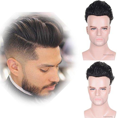 Auspiciouswig Pelucas de repuesto para hombres de cabello humano natural, de 25...