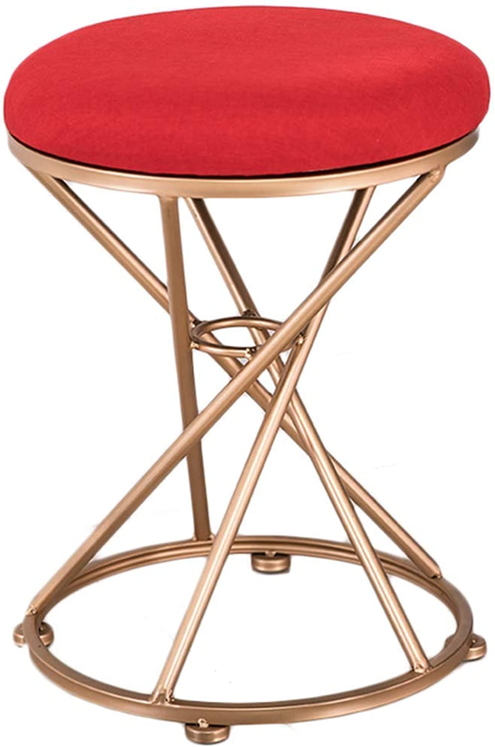 D-Z Chair Stool Dressing Stool Iron Small round Stool Fabric Stool Sofa Change shoes Stool, Stool 2, a