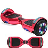 NHT 6.5' Wheel Hoverboard Electric Smart Self Balancing Scooter - UL2272 Certified, Black/Blue/Pink/Red/White/Bluetooth Available On Select Model (Chrome Red)