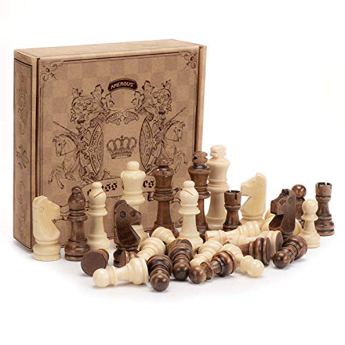 AMEROUS Wooden Chess Pieces Only, Staunton Style Wood Chessmen with 3.03