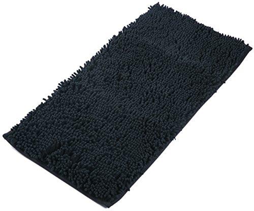 AIREE FAIREE Badematte Badteppiche Badvorleger rutschfeste Chenille Stoff Badezimmer Teppich 82 X 40 CMS (Schwarz)