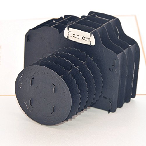 Medigy 3D POP UP Grußkarte Handgemacht Blume Korbp Kamera Blanko-Karten Segen Papier Klappkarten Business Geschenkkarte Glückwunschkarten