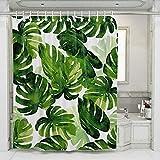 JOTOM Grüne Tropical Palm Blätter Digitaldruck Duschvorhang Badewannenvorhang Anti-Schimmel Anti-Bakteriell Shower Curtain mit 12 Duschvorhangringen 180x180cm (Grünes Blatt A)