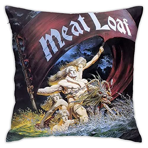 FORWEISITER Meat Loaf Velvet Throw Pillow Cover Cozy Square Throw Pillowcases Home Decor for Bed Couch Sofa Living Room Cushion Covers 18 x 18 inch
