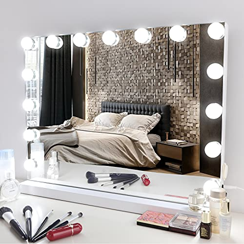Meidom Hollywood Mirror, 15 Dimmable LED, 22.8×18.1'', with USB Charging Port, 3 Color Lighting Modes, for Wall Mounting and Tabletop, Touch Control Hollywood Vanity Mirror with Lights - White