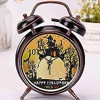 ハロウィーンの夜の不気味な城のカボチャの黒の目覚まし時計時計家またはオフィスの装飾,最高の贈り物 アナログ おしゃれ 大音量 置き時計ベル 電池式 明かり- 直径約4インチ