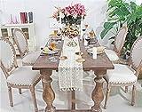 Nicole Knupfer Camino de mesa de macramé bohemio, hecho a mano, encaje de ganchillo, con borlas, para boda, mesa de centro bohemia, decoración artística (24 x 260 cm)