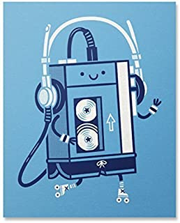 Walkman Cassette Player Art Print Funny Roller Skating Tape Player Headphones Wall Poster Cute Singing Dancing Music Picture Retro Style Childrens Home Decor 8 x 10 inches