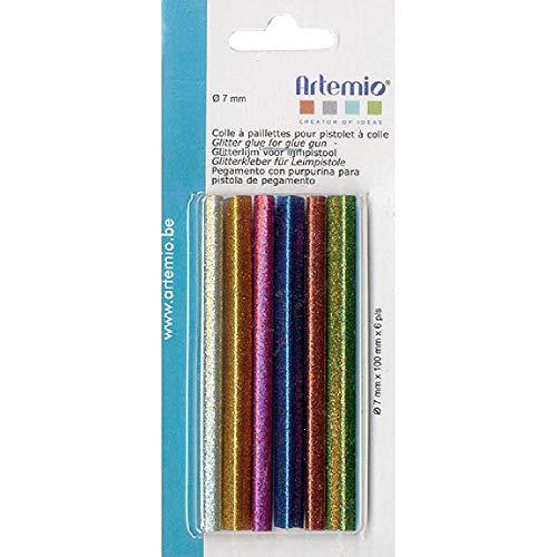 Artemio 18003020 Set 6 Recharge Colle à Paillettes, Multicolore, 7,5 x 1 x 17,5 cm