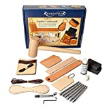 Realeather Basic Leather Craft Starter Kit - Basic Tools and Leather to Make a Key Fob, Bag Tag, Wristband,...