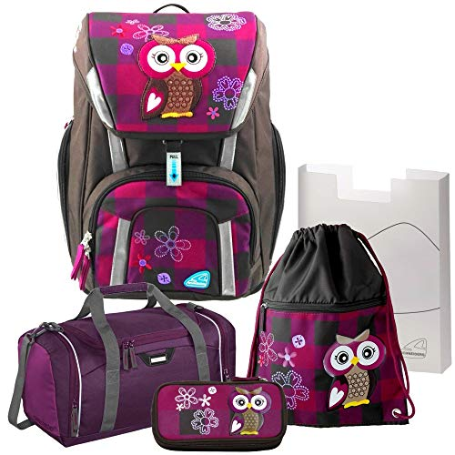 Olivia The OWL Toolbag SMART Schulranzen-Set 5-TLG. Eule Schneiders mit Sporttasche mit NASSFACH - 78320-051