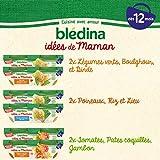 Blédina 12 Idées de Maman dès 12 mois 3 recettes , 12 repas pour bébé Lot 4x Haricots Verts Boulghour Dinde 4x Poireaux Riz Lieu 4x Tomates Pates coquilles Jambon, Pack de 12 portions de 200g