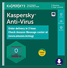 Kaspersky Antivirus - 3 PCs, 1 Year (Single Key) (Email Delivery in 2 Hours - No CD)