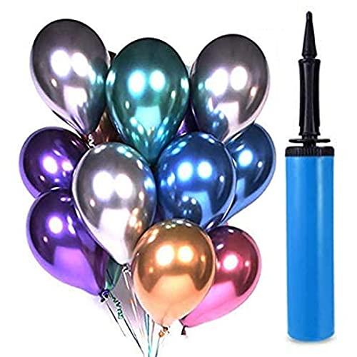 60 piezas Globo de fiesta 12 pulgadas Globo de látex de metal Globo de cumpleaños Globo brillante de helio Decoración de fiesta Boda Cumpleaños Compatible Fiesta de Navidad