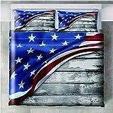 Juego de cama de 3 piezas Tablero de la bandera de la estrella - 180x210cm(71x83 inch) Funda Edredón con cremallera de cama de microfibra suave y transpirable funda con 2 fundas de almohada