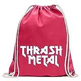 Kiwistar Hardcore Thrash Metal Guitarra Heavy Metal Divertido Mochila Deportiva para el Fitness Gimnasio de compras de algodón con cordón, Unisex adulto, Rosa, 37 x 46cm