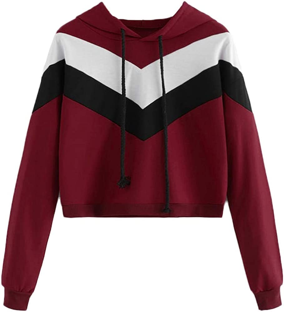 Girls' Hoodie, Misaky Pullover Sweatshirt Casual Loose Solid Color Stitching Long Sleeve Hooded Blouse Tops
