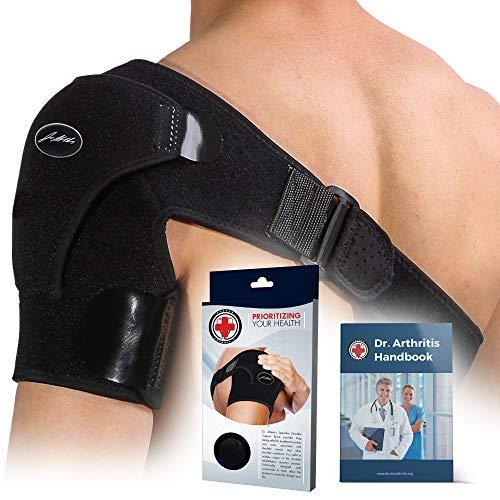 Doctor Developed Shoulder Support / Shoulder Strap / Shoulder Brace [Single] & DOCTOR WRITTEN HANDBOOK - RELIEF for Shoulder Injuries, for both left & right (Black)