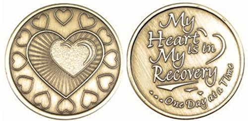 Wendells My Heart Is In Recovery Bulk Lot of 25 Medallions Bronze One Day At A Time Chips